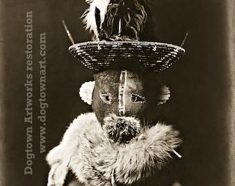 Zahadolzha Navajo, Professionally Restored Large Reprint Photograph of Vintage Native American Indian Man Wearing Zahadolzha Mask
