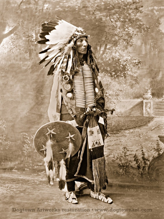 Turning Bear, Professionally Restored Large Reprint of Vintage Native  American Dakota Sioux Indian Man Chief Photograph