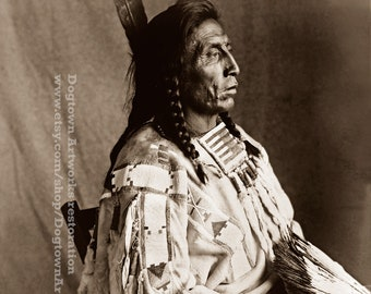 Chief Medicine Crow, Professionally Restored Photograph Reprint of Vintage Native American Indian & Medicine Man of Crow Tribe