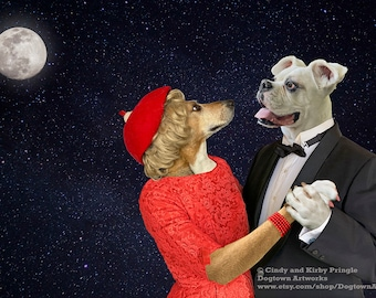 Dancing in the Moonlight, funny large original photograph of white Boxer dog and Beagle dog in clothes dancing under a full moon