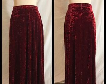 bc47d0d5a Preston & York Ruby Garnet Red Panne Stretch Velvet Seven Gore Flared Skirt  Back Button and Zipper Narrow Waistband Maxi Length - Size 8