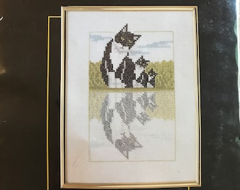 Lanarte Counted Cross Stitch Kit No. 33889 Cat and Kittens in a Reflecting Pool from Lifestyle Collection - 6 in x 8 in
