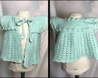 Handmade Crocheted Baby's Matinee Jacket in Mint Green and White
