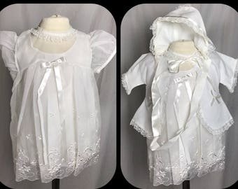 af3e394ec Baby Girls Short Christening Gown in Embroidered White Organza with Matinee  Jacket and Bonnet by Madonna for Carol Joy