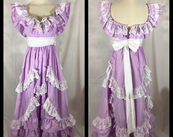 f05211b959d 1970s Lavender Purple Prom Dress Southern Belle Style with Lace Trimmed  Tiers and White Bow Sash Off Shoulder Style - Size Extra Small