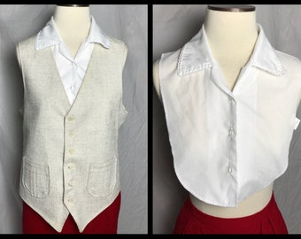 White Poly/Cotton Chemisette or Dickey Collar with Functional Button Front and Eyelet Lace Trim