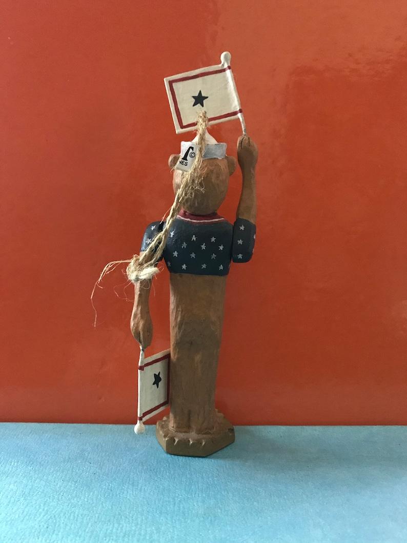 5.5 top of bear or 6.5 raised flag Approx Midwest Importers Bear Sailor Signalman Flag Signaller Semaphore Ornament