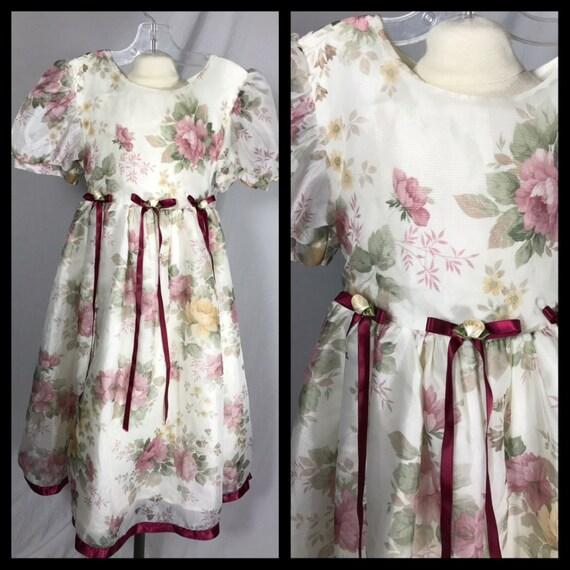 1980s Kids Time Girls Victoriana Dress in Sheer Fl