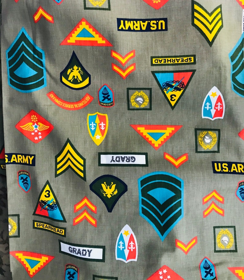 Colorful Variety on Drab Green Background One Yard Vintage Concord Fabrics Army Patches Print Fabric