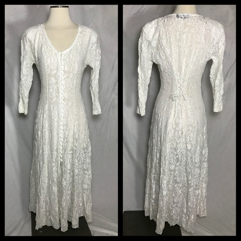 Florencio Fiume Sheer Stretch Lace Dress with Button Front and Back Lace Up Size Small