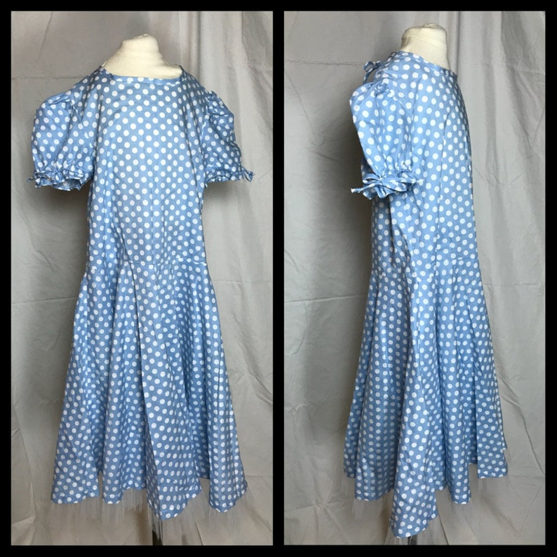 e94fbfa0c Girls 1950s or Square Dance Circle Skirt Costume Dress in Blue   Etsy