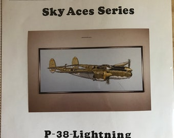 P-38 Lightning Sky Aces Series Counted Cross Stitch Pattern - A & L Designs SA001-C