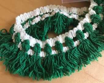 """1970s Era Green and White Tassel Fringe Trim - 2"""" Wide by 3.5 Yards Long"""