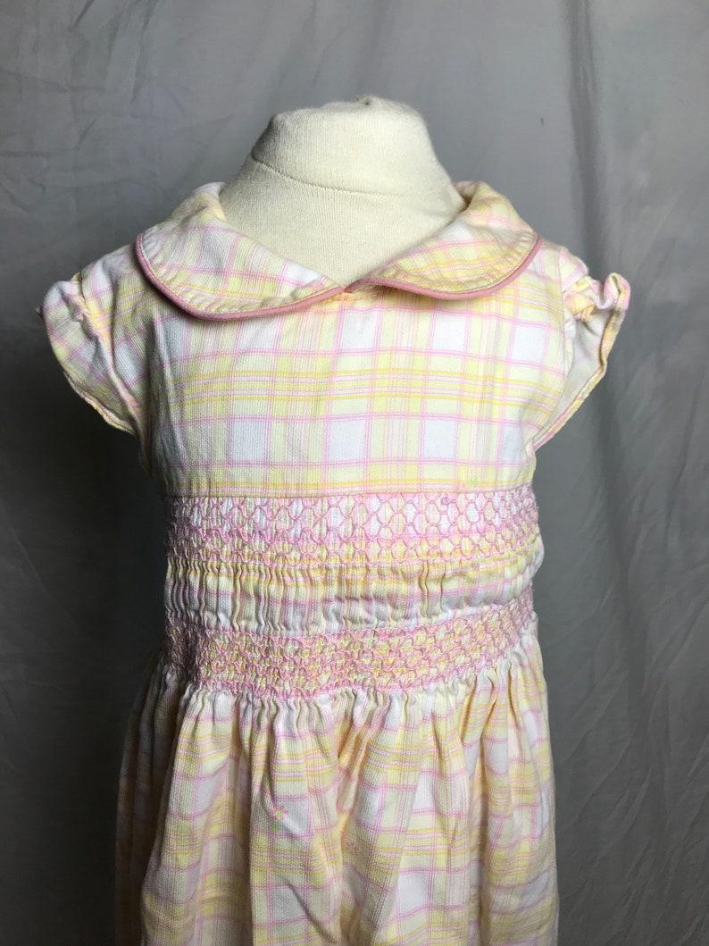 Laura Ashley Little Girl\u2019s 100/% Cotton Pink Lemonaid Plaid Summer Dress with Smocked Waist and Ruffled Cap Sleeve Size 6