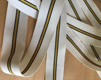 """Striped Grosgrain Ribbon, Cream with Black and Tan Center Stripe - 7/8"""" by 5 Yards"""