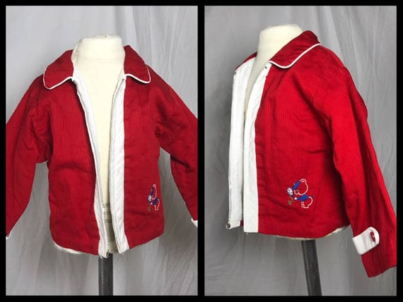 1950s or 50s Boys Red Jacket with White Trim by Ja