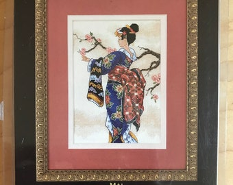"""Dimension Gold Collection Petites Counted Cross Stitch Kit - Mai No. 6760 Traditional Japanese Costume and Cherry Blossoms - 5"""" x 7"""""""