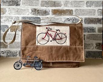 Large Vegan messenger bag, guys commuter work bag with zipper pouch , Men Messenger bag IKABAGS