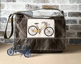 Large Waxed Canvas Messenger bag in Khaki Green with Crossbody Strap, Men Laptop Bag IKABAGS 2 Way