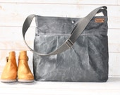 Diaper bag, Waxed canvas bag, Messenger bag, adult bag, graduation gift, gift for her, gift for him, cross body bag,bike bag,travel bag,gray