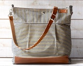 Waxed Canvas Bag Diaper bag Stockholm Gray  geometric nautical striped  Leather / Ikabags Featured on VOGUE