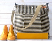 Waxed Canvas bag, Diaper bag, Messenger bag, nautical striped, cross body bag, Gift for her, gift for mom, Webbing strap