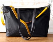 Diaper bag, Waxed canvas bag, Messenger bag, black tote bag, adult bag, Tote bag, Gift for her, gift for him, bike bag, work bag