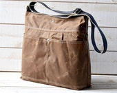 Diaper bag, Waxed canvas bag, Messenger bag, adult bag, gift for her, cross body bag, bike bag, travel bag, tan brown