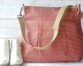 Waxed canvas bag Diaper bag, Messenger bag Striped bag Pink Stockholm  geometric nautical stripes, Gift for mom
