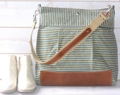 Waxed canvas bag , Diaper bag, Messenger bag Stockholm Robin egg blue nautical striped  Leather, Ikabags Featured on The Martha Stewart F1