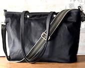 Black Waxed Canvas tote, Waxed canvas bag, Messenger bag, diaper bag, adult bag, gift for her, bike bag, travel bag