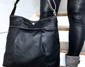 Black Diaper bag, Waxed canvas bag, Messenger bag, adult bag, gift for her, cross body bag, bike bag, travel bag,gift for him