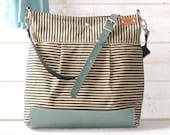 Diaper bag, Gift for Wife, Waxed canvas bag, Moms Gift, Messenger bag, Gift for her,geometric bag,nautical striped