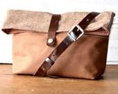 Waxed canvas bag,travel bag,adult bag, gift for her, gift for him, cross body bag, bike bag, tan brown
