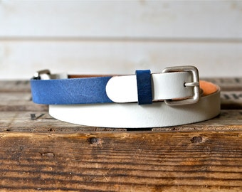 Leather Belt , Navy and White, Gift for Wife, Gift for her, Women leather belt, Nautical Leather Belt,Men leather belt