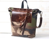 Camouflage Canvas tote, Adult bag, Messenger bag, crossbody bag, bike bag, travel bag, Graduation gift with leather