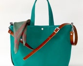 Waterproof canvas tote, Work bag, Messenger bag, Carry all, Diaper bag,Travel bag,French green tote