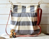 Diaper bag, Messenger bag, striped bag, gray canvas bag, Gift for her, geometric bag, nautical striped, Gift for mom, crossbody bag
