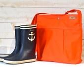 Orange Cross body bag, Diaper bag, Messenger bag, canvas bag, Gift for her, Mom gift , Graduation gift, travel bag,summer bag,waterproof bag