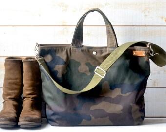 Cabas toile camouflage, sac, sac de toile ciré, retour à l'école sac besace, sac à langer, adulte, cadeau pour elle, sac de vélo, sac de voyage