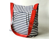 Diaper bag, Messenger bag, striped bag, crossbody bag, canvas bag, Gift for her, navy white, geometric bag, nautical striped, Gift for mom,