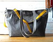 Waxed canvas tote bag, Messenger bag, adult bag, Shoulder bag, Tote bag, Gift for her, gift for him, bike bag, work bag, Unisex tote