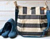 Waterproof Black  Adult Diaper bag/canvas diaper bag/Messenger bag STOCKHOLM  nautical stripe bag ,graduation gift 10 Pockets,mothers gift