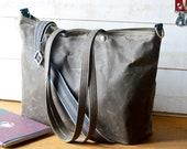 Khaki Green Waxed Canvas tote, Waxed canvas bag, Messenger bag, diaper bag, adult bag, gift for her, bike bag, travel bag