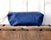 Waxed canvas pouch - waxed canvas bag, nautical zipper pouch,navytravel pouch,christmas gift pouch, pencil case