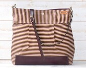 Diaper bag,Waxed canvas bag,Messenger bag,Gift for her,Plum striped bag,geometric bag,nautical striped,Gift for mom