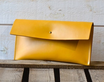 June Birthday Gifts, Leather wallet, Mustard Leather Wallet, wedding clutch, bridesmaid gift, travel clutch, bridal clutch,bridesmaid gift