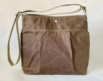 Waxed Canvas Bag in Tan Brown , Daily Crossbody Bag and Passport Holder, Leather Wallet IKABAGS 3 WAY
