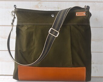 Waterproof Green Diaper bag, Messenger bag Green Stockholm with crossbody strap, leather bag, diaper bag, travel bag,forest green