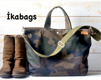 Camouflage Canvas tote bag , Waxed canvas tote , Back to school bag, Messenger bag, Diaper bag, Valentine day gift, Gift for her, Travel bag